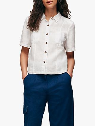 Whistles Marielle Linen Patch Pocket Shirt, White