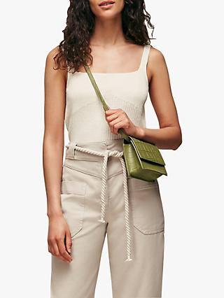 Whistles Linen Blend Ribbed Tank Top