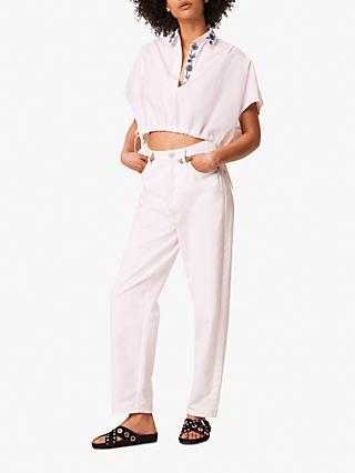 French Connection Zain Poplin Embroidered Cropped Popover Shirt, White/Indigo
