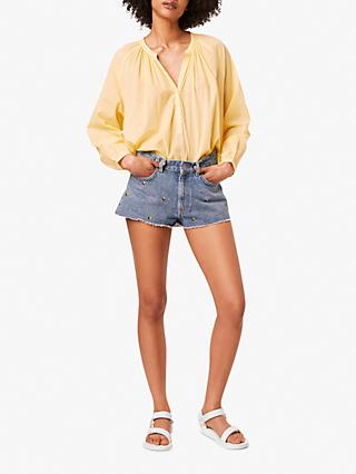 French Connection Badrai V-Neck Blouse, Sunwash Yellow
