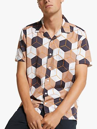 Far Afield Large Cube Short Sleeve Organic Cotton Shirt, Large Square Pink