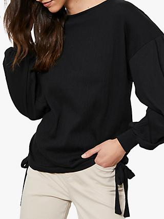 Mint Velvet Textured Tie Hem Top, Black