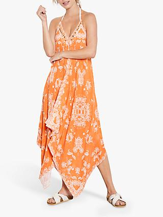 Mint Velvet Janie V-Neck Floral Maxi Dress, Orange
