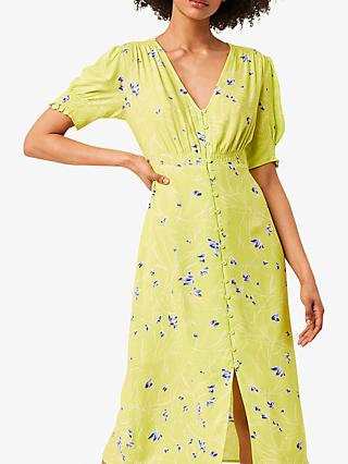 French Connection Ambar Floral Print Tea Dress, Lime Punch/Multi