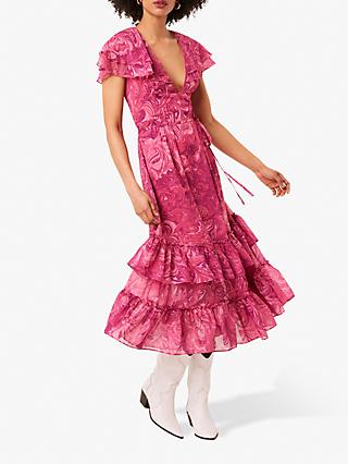 French Connection Endra Ruffle Trim Midi Dress, Very Berry
