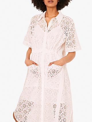 French Connection Agee Anglaise Embroidered Shirt Dress, Summer White