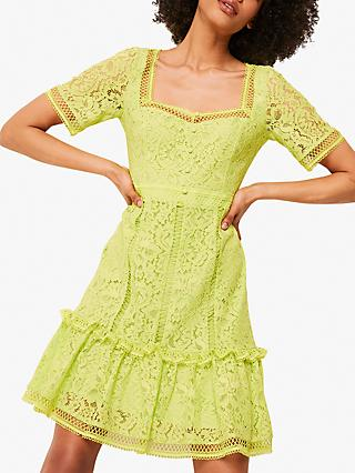 French Connection Amisha Lace Panelled Dress, Lime Punch
