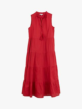 Warehouse Tiered Ruffle Neck Midi Dress, Bright Red