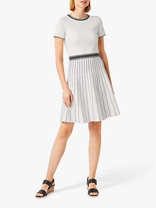 Hobbs Millie Striped Knitted Dress, Ivory/Black