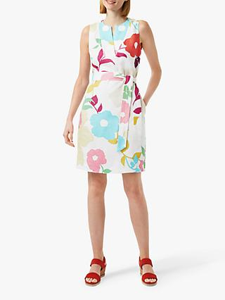 Hobbs Daria Floral Linen Dress, White/Multi