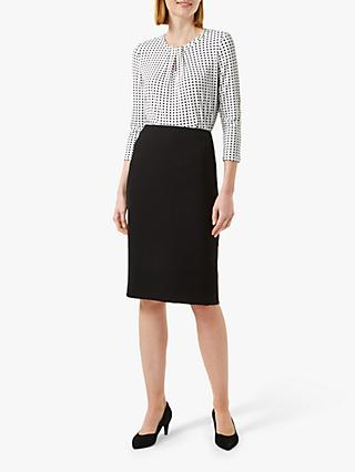 Hobbs Julia Polka Dot Blouse, Ivory/Black