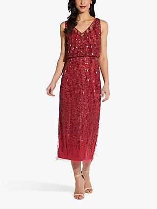 Adrianna Papell Sleeveless Beaded Blouson Dress, Dusty Rouge