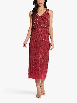 Adrianna Papell Sleeveless Beaded Blouson Dress, Dusty Rouge