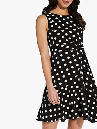 Adrianna Papell Spot Print Flared Dress, Black/Ivory