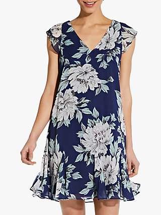 Adrianna Papell Floral Print Chiffon Godet Shift Dress, Navy/Multi
