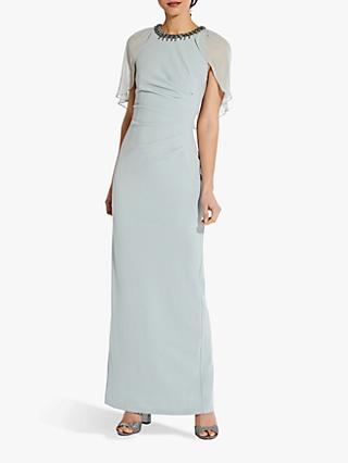 Adrianna Papell Chiffon Capelet Crepe Gown, Frosted Sage