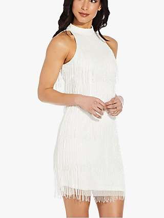 Adrianna Papell Beaded Fringe Halterneck Dress, Ivory