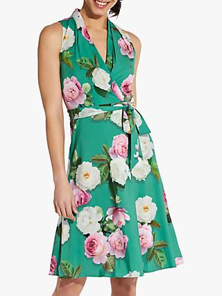 Adrianna Papell Peony Print Bias Dress, Green/Multi