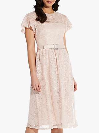 Adrianna Papell Sequin Dot Embellished Belted Midi Dress, Light Blush