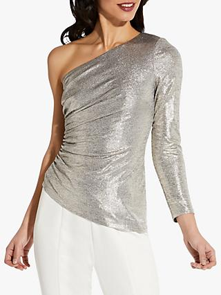 Adrianna Papell Foil Asymmetric Shoulder Top, Light Gold