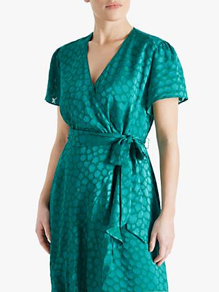 Fenn Wright Manson Petite Jewel Abstract Print Ruffle Detail Midi Dress, Green