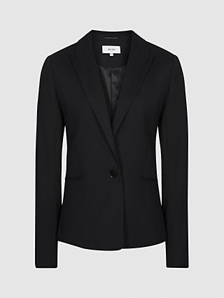 Reiss Hayes Wool Blend Blazer, Black