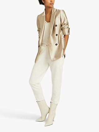 Reiss Maja Textured Double Breasted Blazer, Gold