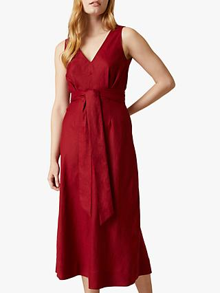 Jigsaw Linen V Neck Midi Dress, Raspberry