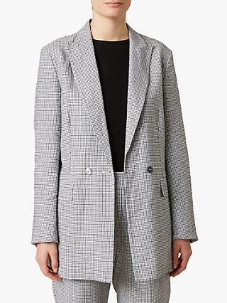 Jigsaw Irish Check Linen Blend Blazer, Monochrome