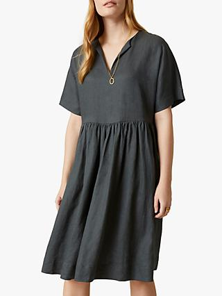 Jigsaw Linen Knee Length T-Shirt Dress, Seaweed