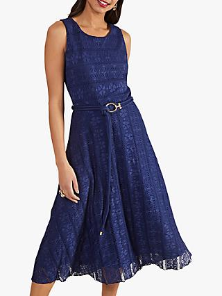 Yumi Lace Belted Sleeveless Midi Dress, Navy