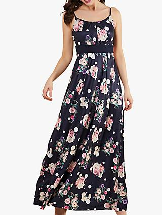 Yumi Floral Spot Sleeveless Maxi Dress, Navy
