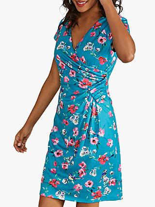 Yumi Floral Bird Print Ruched Mini Dress