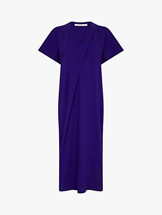 Finery Front Fold Midi Cotton Dress, Cobalt