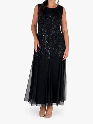 chesca Sleeveless Embroidered Mesh Dress
