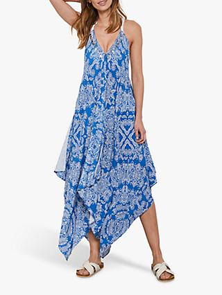 Mint Velvet Lucille Abstract Print Handkerchief Hem Dress, Blue/Multi