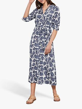 Mint Velvet Olivia Geometric Print Midi Shirt Dress, Ivory