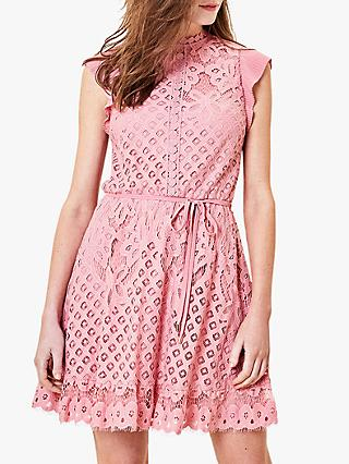 Oasis Lace Frill Sleeve Skater Dress, Pale Pink