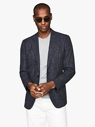 Reiss Seep Basket Texture Cotton Wool Blend Slim Fit Blazer, Navy