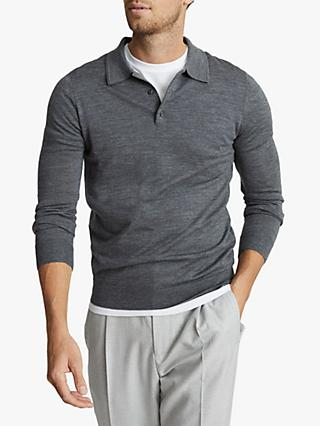 Reiss Trafford Merino Wool Polo Shirt, Mid Grey Melange