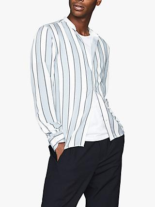 Reiss Chince Stripe Grandad Collar Shirt