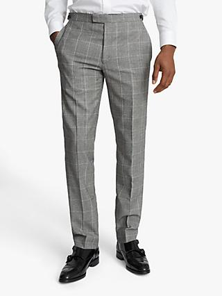 Reiss Hall Prince of Wales Check Slim Fit Suit Trousers, Grey
