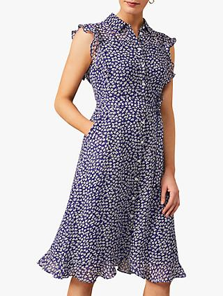 Phase Eight Riley Ditsy Floral Print Chiffon Dress, Cobalt/Ivory