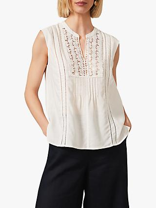 Phase Eight Zhane Floral Embroidered Sleeveless Blouse, White