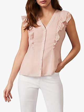 Phase Eight Marcella Sleeveless V-Neck Blouse, Soft Pink
