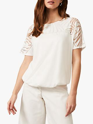 Phase Eight Imy Leaf Print Yoke Top, Ivory