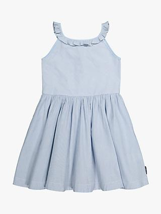 Polarn O. Pyret Children's GOTS Organic Cotton Frill Neck Striped Dress, White/Blue
