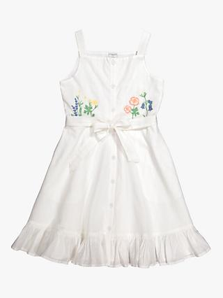 Polarn O. Pyret Girls' Floral Sleeveless Flared Dress, White