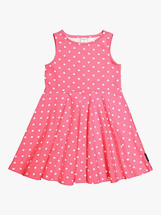 Polarn O. Pyret Girls' GOTS Cotton Dot Dress, Pink