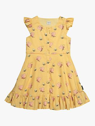 Polarn O. Pyret Girls' Bee Print Dress, Yellow
